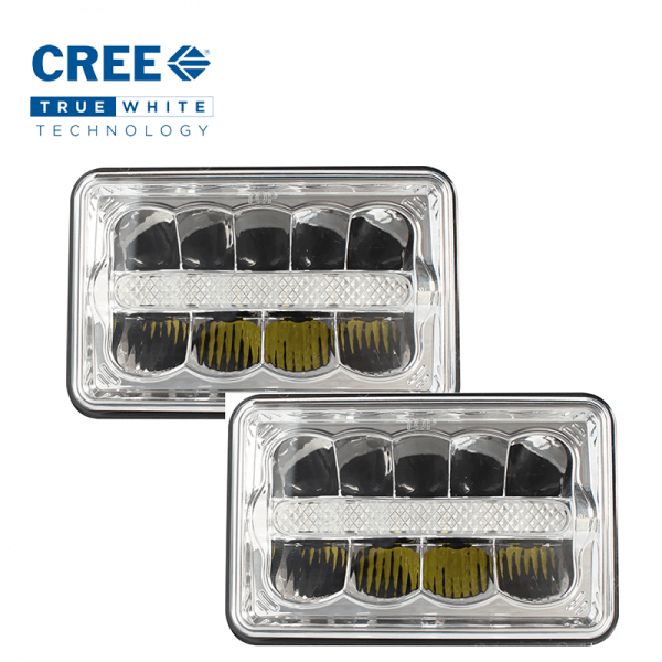 "Pair Vortex Series Led Headlight 7"" x 5"" With DRL"