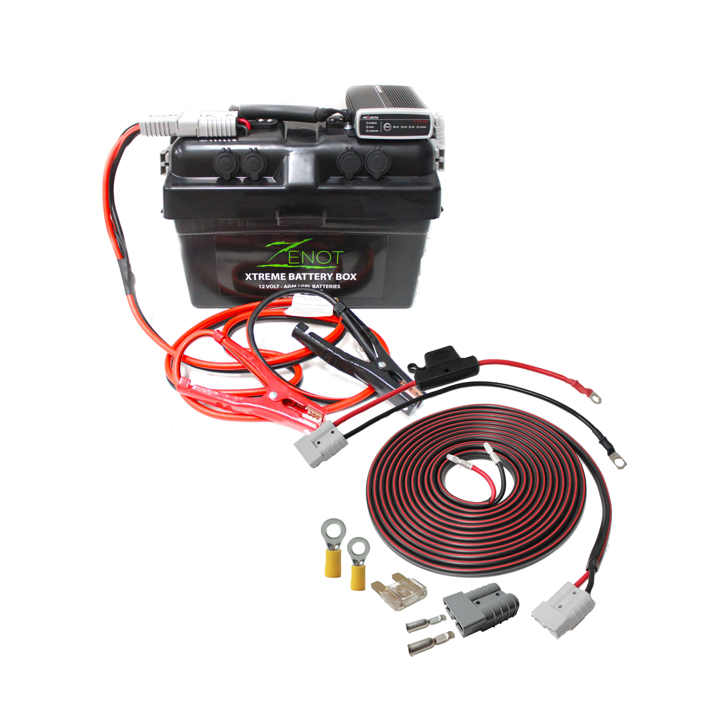 quality built zenot extreme battery box with dc dc charger, jump starter &  wiring kit | all 12 volt
